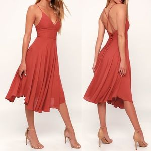 Lulus Troulos Rust Red Lace-Up Midi Dress NWT